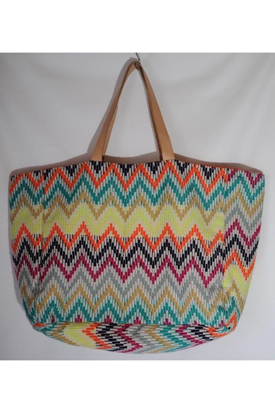 Tasche, Strandtasche, Badetasche, multicolor gemustert