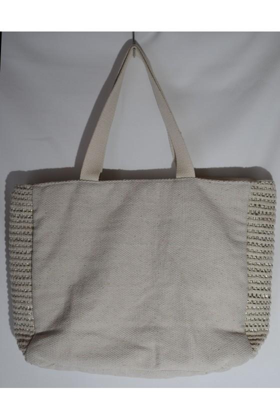 Tasche, Strandtasche, Badetasche, creme/metallic