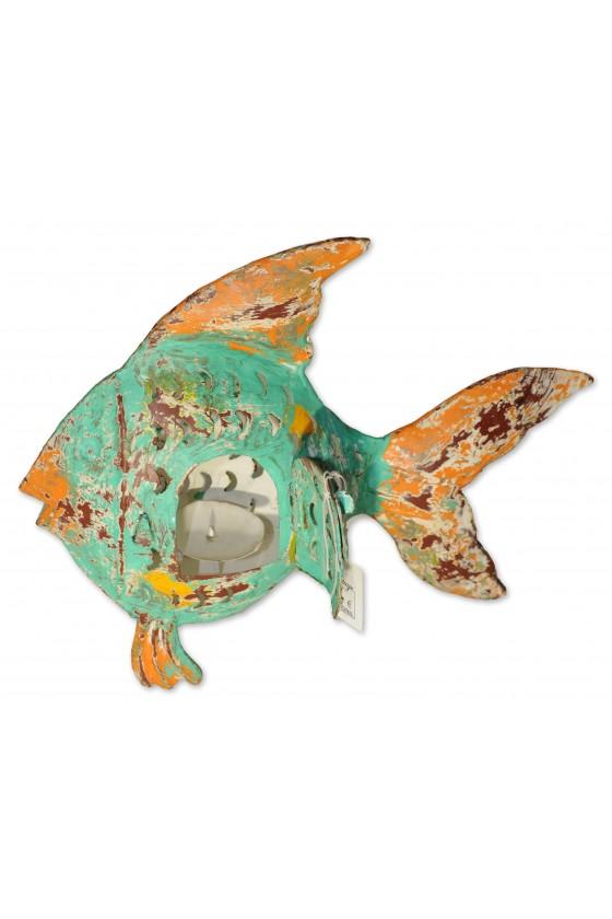 Windlicht, Fisch, Metall, türkis/orange/gelb lackiert