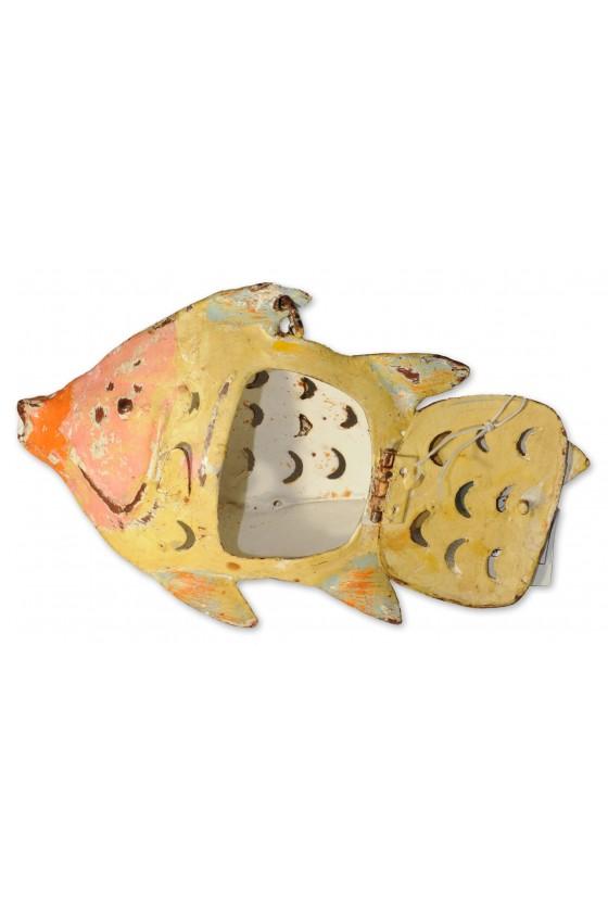 Windlicht, Fisch, Metall, gelb/orange/grau lackiert