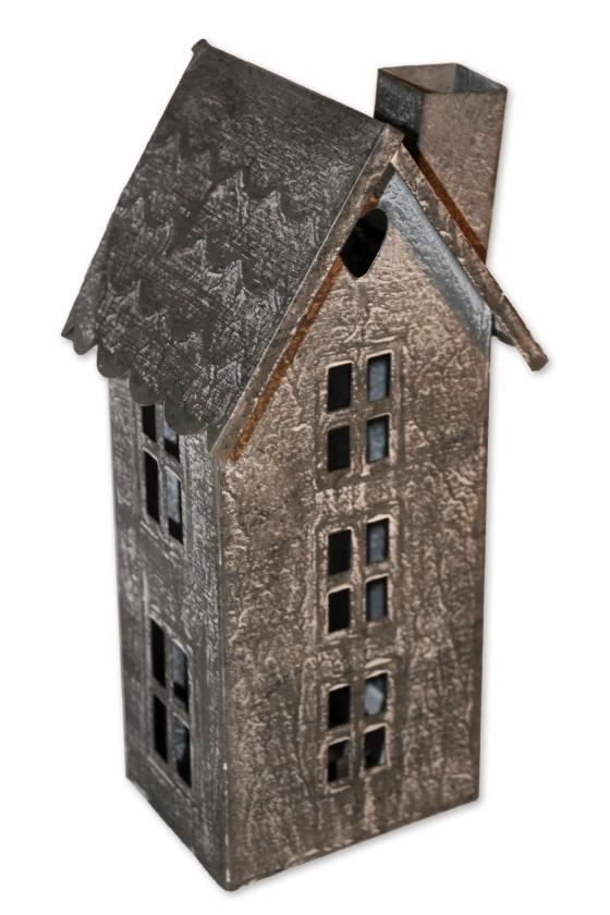 Haus, Windlicht, grau, Metall