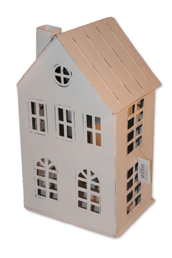 Haus, Windlicht, weiß, Metall, Shabby Chic