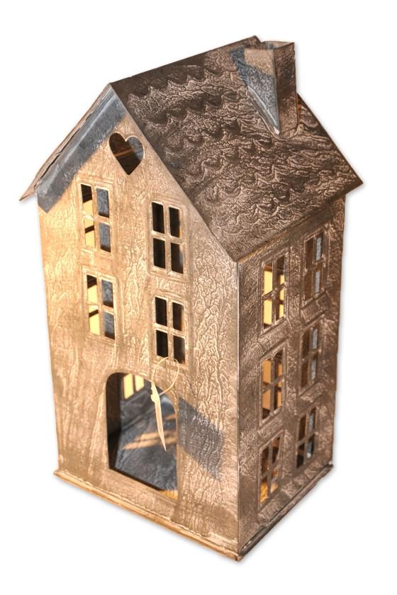 Haus, Windlicht, weiß/Zink,...