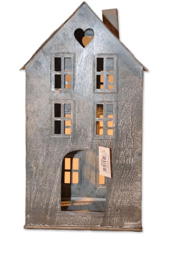 Haus, Windlicht, weiß/Zink, Metall