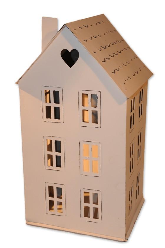 Haus, Windlicht, weiß, Metall