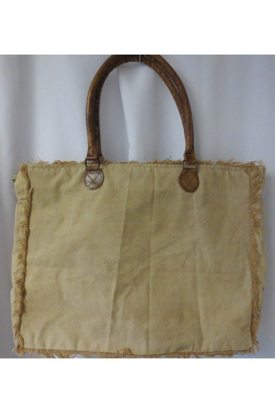 Tasche, Shopper, Canvas/Leder