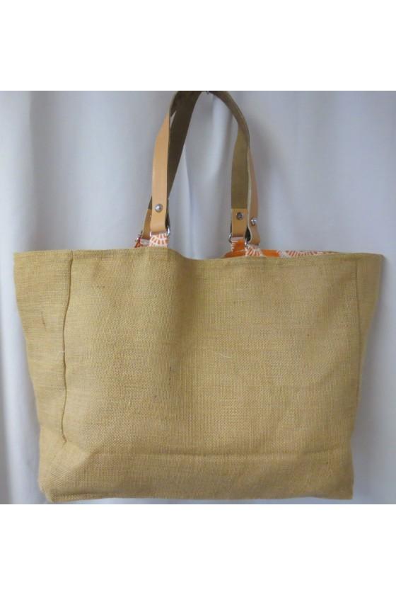 Strandtasche, Jute/Leder