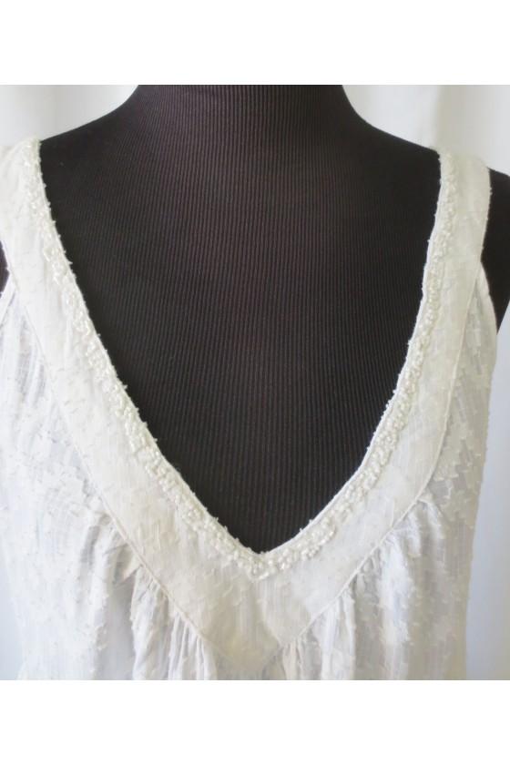 Kleid, Trägerkleid, weiß, bestickt