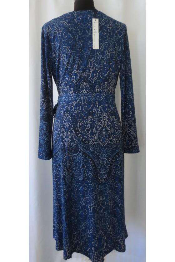 Kleid, dunkelblau gemustert