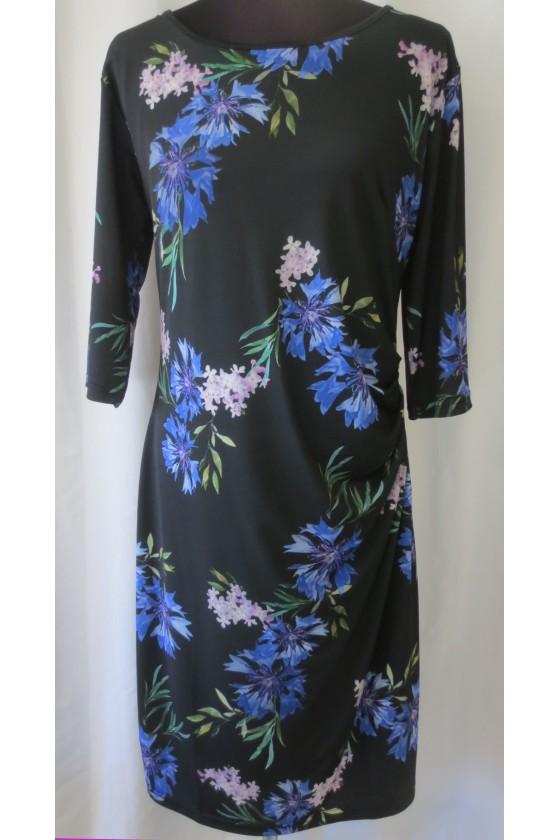 Kleid, schwarz, geblümt