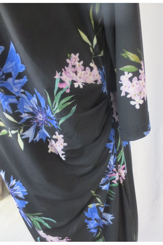 Kleid, schwarz, blau geblümt