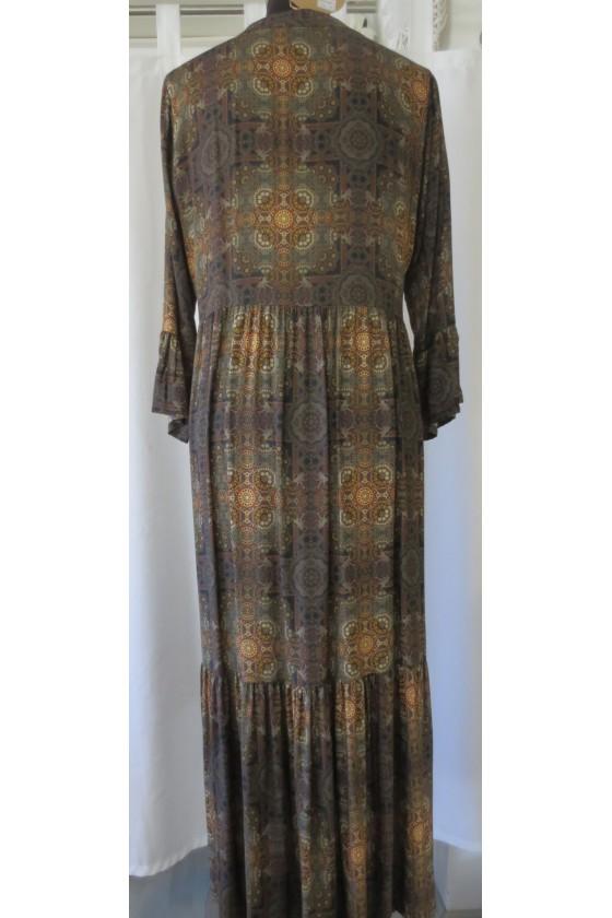 Kleid, Longkleid, multicolor, dunkelbraun