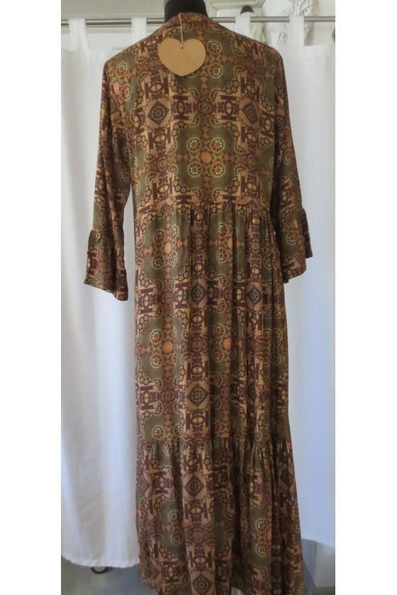 Kleid, Longkleid, multicolor, caramel gemustert