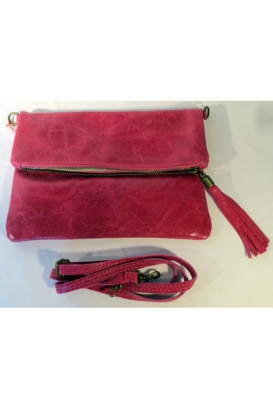 Umhängetasche, Clutch, pink, Echtes Leder