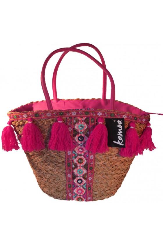 Strandtasche, Henkeltasche, Tasche, natur/pink