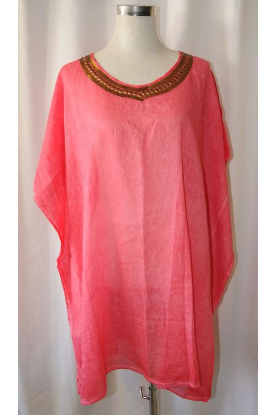 Tunika, pink, bestickt