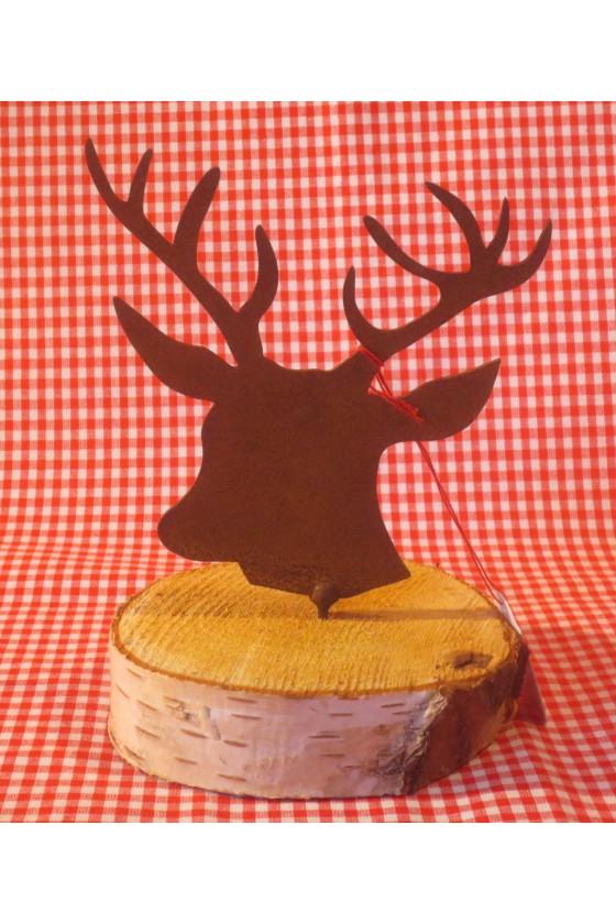 Rosthirsch auf Birkenholzscheibe