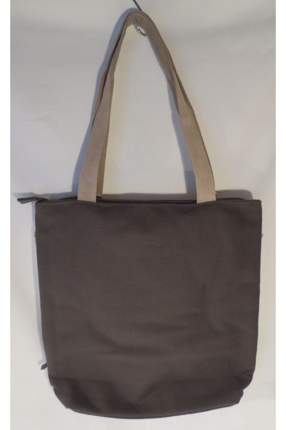 Schultertasche, Tasche, Shopper, grau/natur
