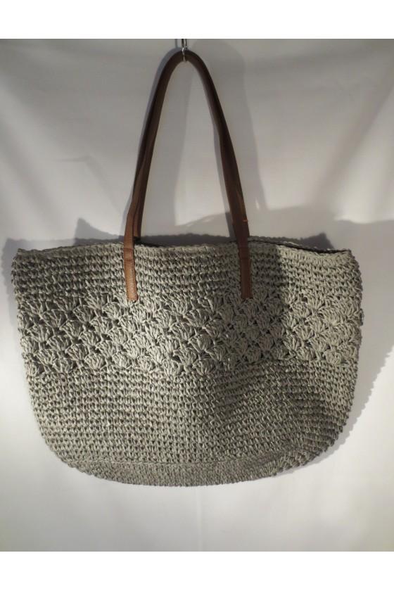 Schultertasche, Strandtasche, Tasche, grau