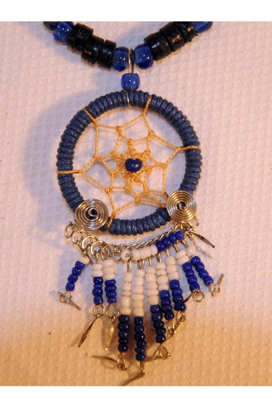 Kette, kurz, Perlen blau